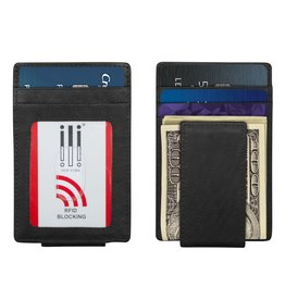 Leather Handbags and Accessories 7770 Black - RFID Magnet Money Clip Card Holder