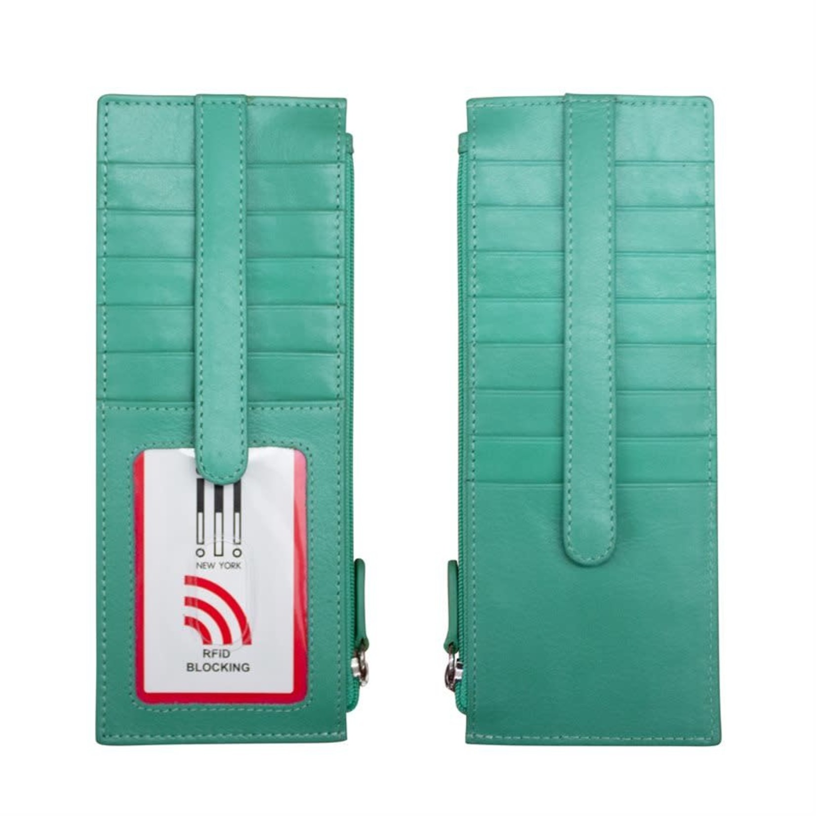 Leather Handbags and Accessories 7800 Turquoise - RFID Card Holder