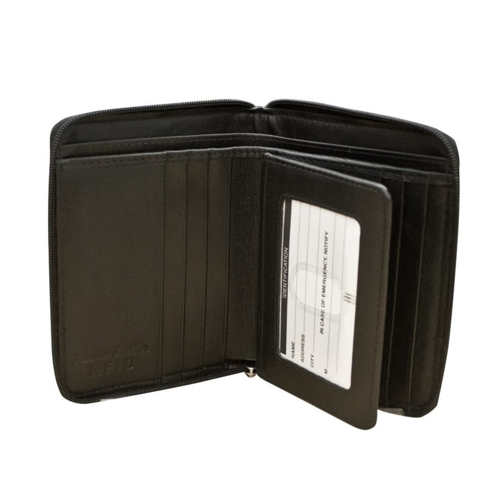 Leather Handbags and Accessories 7859 Black - RFID Zip Around Wallet