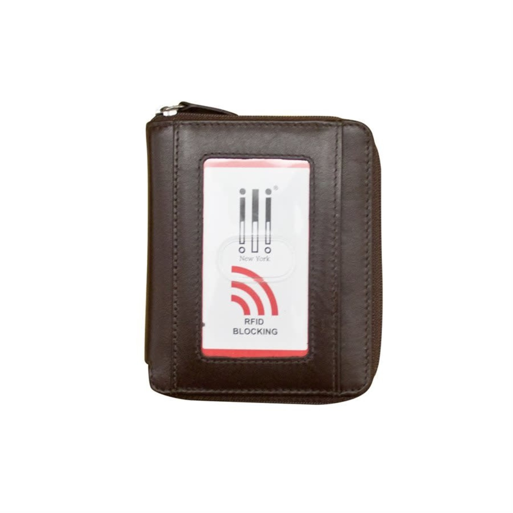 Leather Handbags and Accessories 7859 Brown - RFID Zip Around Wallet
