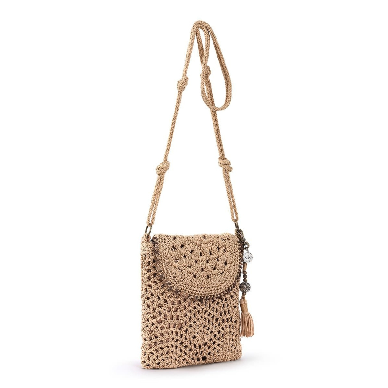The Sak Sayulita Crochet Flap Crossbody - Bamboo