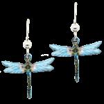 d'ears 2219 Aqua Dragonfly Earrings