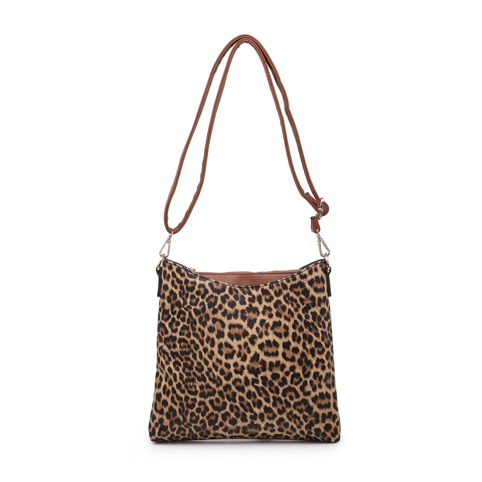 Jen & Co M1765-LP.MD:  Emma Crossbody - Leopard Mustard