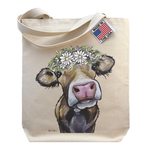 Hippie Hound Studios 'Hazel' Cow with Daisies - Gusset Tote