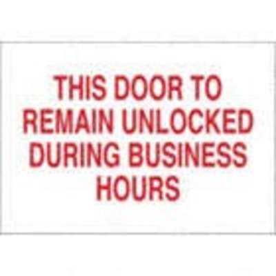 Safehouse Signs This Door to remain unlocked during normal business hours 7x10 - Vinyl Sticker