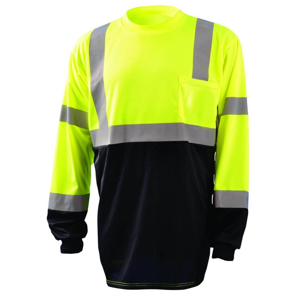 Occunomix Class 3 Hi Viz/Black Wicking Birdseye Long Sleeve Shirt
