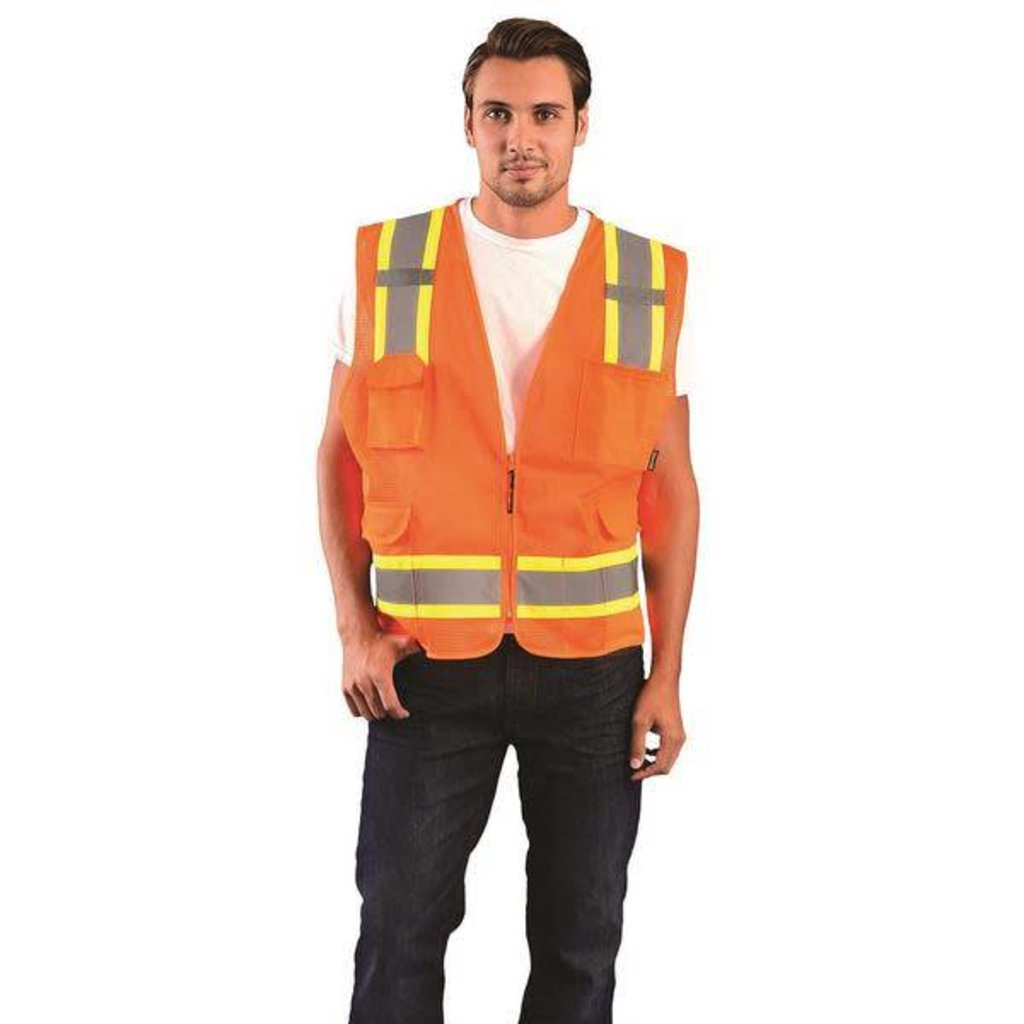Occunomix Hi Viz Two-Tone Orange Mesh Surveyor Vest