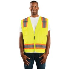 Occunomix Hi Viz Two-Tone Lime Mesh Surveyor Vest