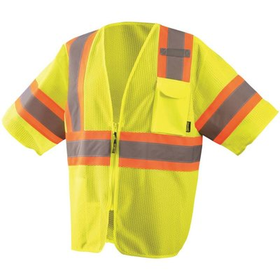 Occunomix Hi viz Two-Tone Lime Mesh Class 3 Safety Vest