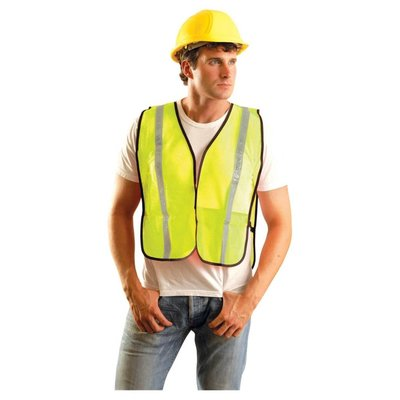 "Occunomix Hi Viz Lime 1"" Reflective Tape Safety Vest"