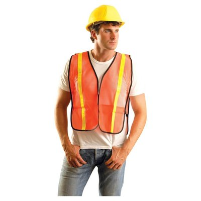 "Occunomix Hi Viz Orange 1"" Reflective Tape Safety Vest"