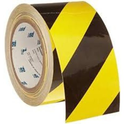 7 Mil. Vinyl Black/Yellow Floor Tape - 3 in.