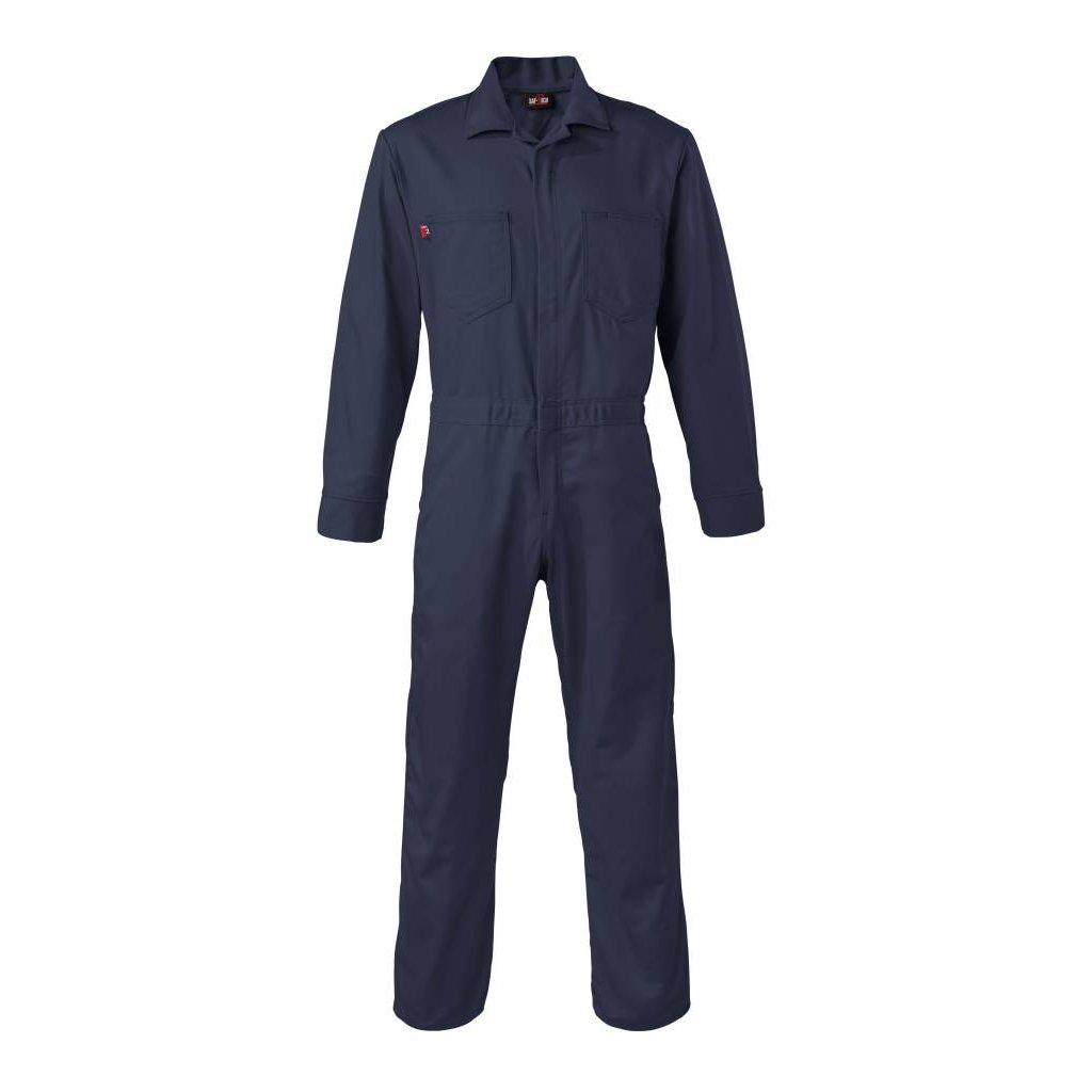 Saf-Tech Men's 9oz. Navy Blue Indura FR Cotton Coverall