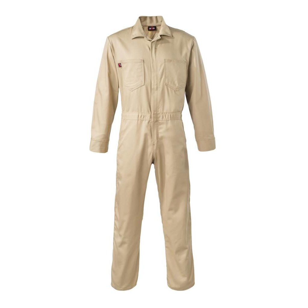 Saf-Tech Men's 9oz. Khaki Indura FR Cotton Coverall