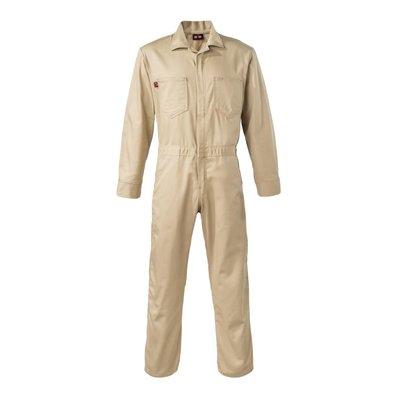"Saf-Tech Men's 9oz. Khaki Indura FR Cotton Coverall w/ 2"" Tape ALS"