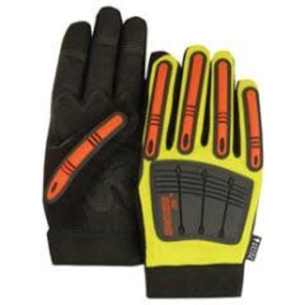 Majestic Glove Knuckle Head Impact Gloves - Hi Viz Yellow