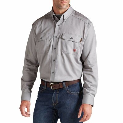 Ariat Men's FR Silver Fox Gray Work Shirt