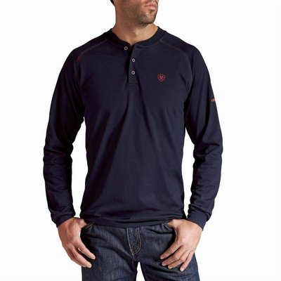 Ariat Ariat FR Shirt Men's Navy Blue Henley