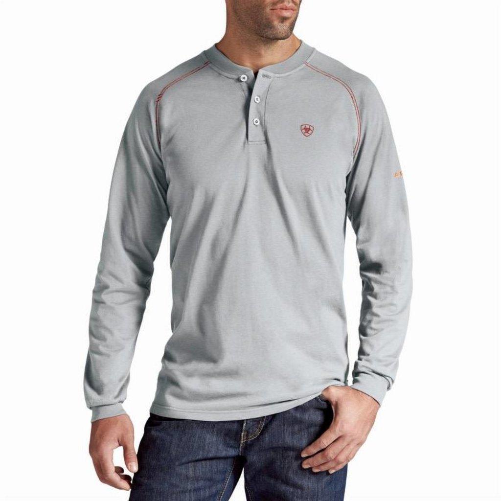 Ariat Men's FR Silver Fox Gray Work Henley Shirt