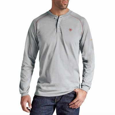 Ariat Men's FR Silver Fox Gray Work Henley Shirt
