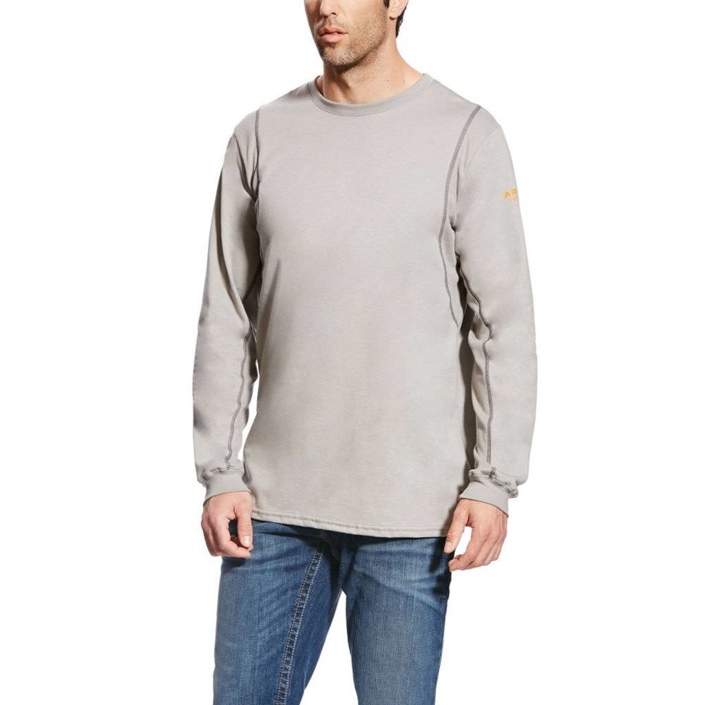 Ariat Men's FR Silver Fox Gray A/C Crew Shirt