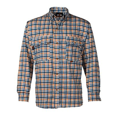 Saf-Tech Men's FR Blue/Grey/Orange Plaid Deluxe Dress Shirt