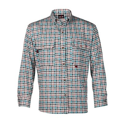 Saf-Tech Men's FR Teal/Black Plaid Deluxe Dress Shirt