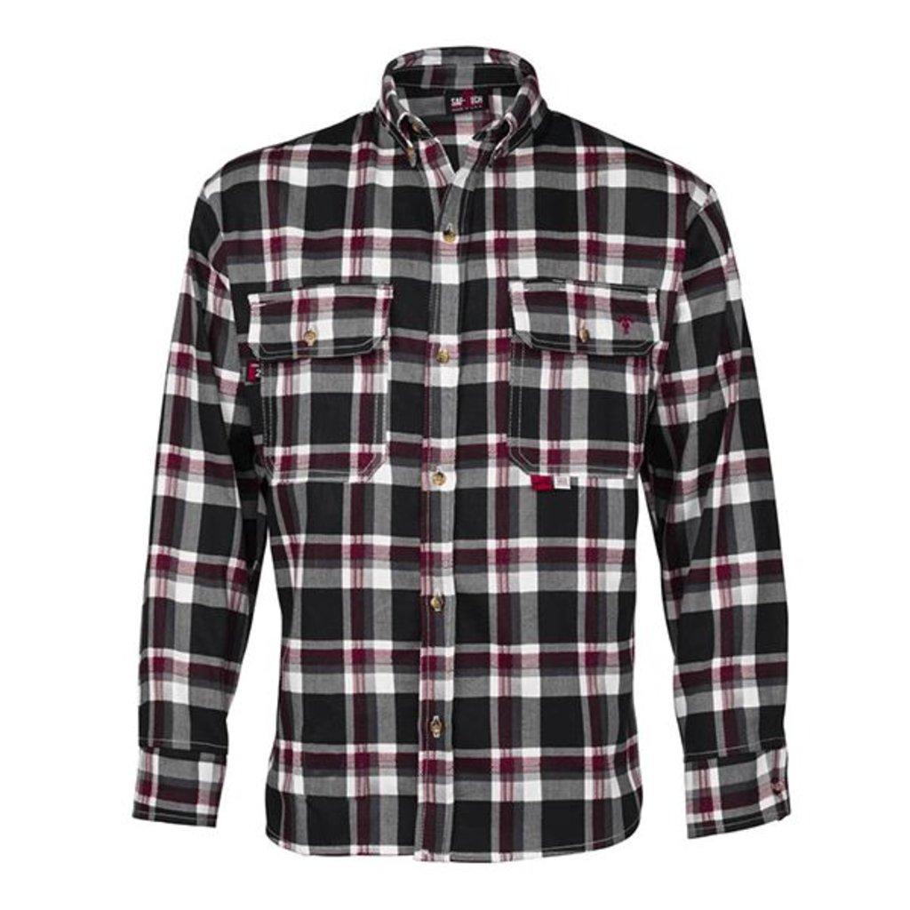 Saf-Tech Men's FR Black/Grey/Red Plaid Deluxe Dress Shirt