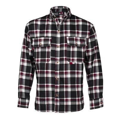 Saf-Tech Men's FR Black/Grey/Red Plaid Deluxe Dress Shirt