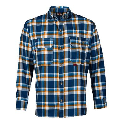 Saf-Tech Men's FR Navy/Blue/Orange Plaid Deluxe Dress Shirt