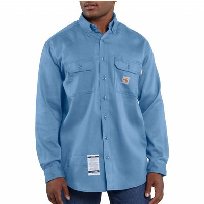 Carhartt Men's FR Blue Work-Dry lightweight Twill Work Shirt