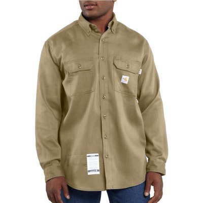 Carhartt Men's FR Khaki Work-Dry Lightweight Twill Work Shirt