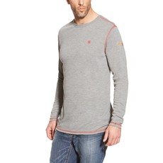 Ariat Men's FR Light Gray Polartec Dry Work Crew Shirt