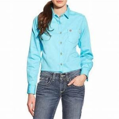 Ariat Women's FR Block Solid Turquoise Work Shirt