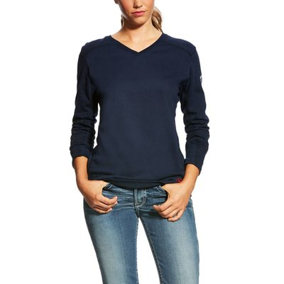 Ariat Women's FR Navy Blue AC Top Work Shirt