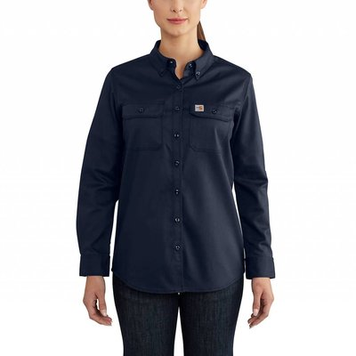 Carhartt Women's FR Dark Navy Rugged Flex Twill Work Shirt