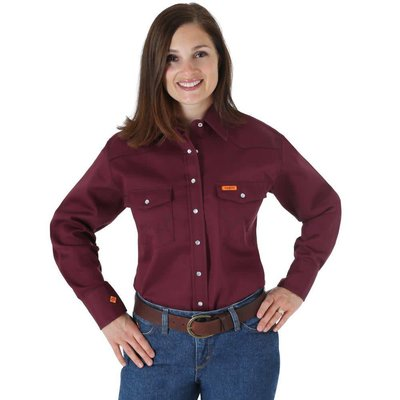 Wrangler FR Women's FR Burgandy Work Shirt