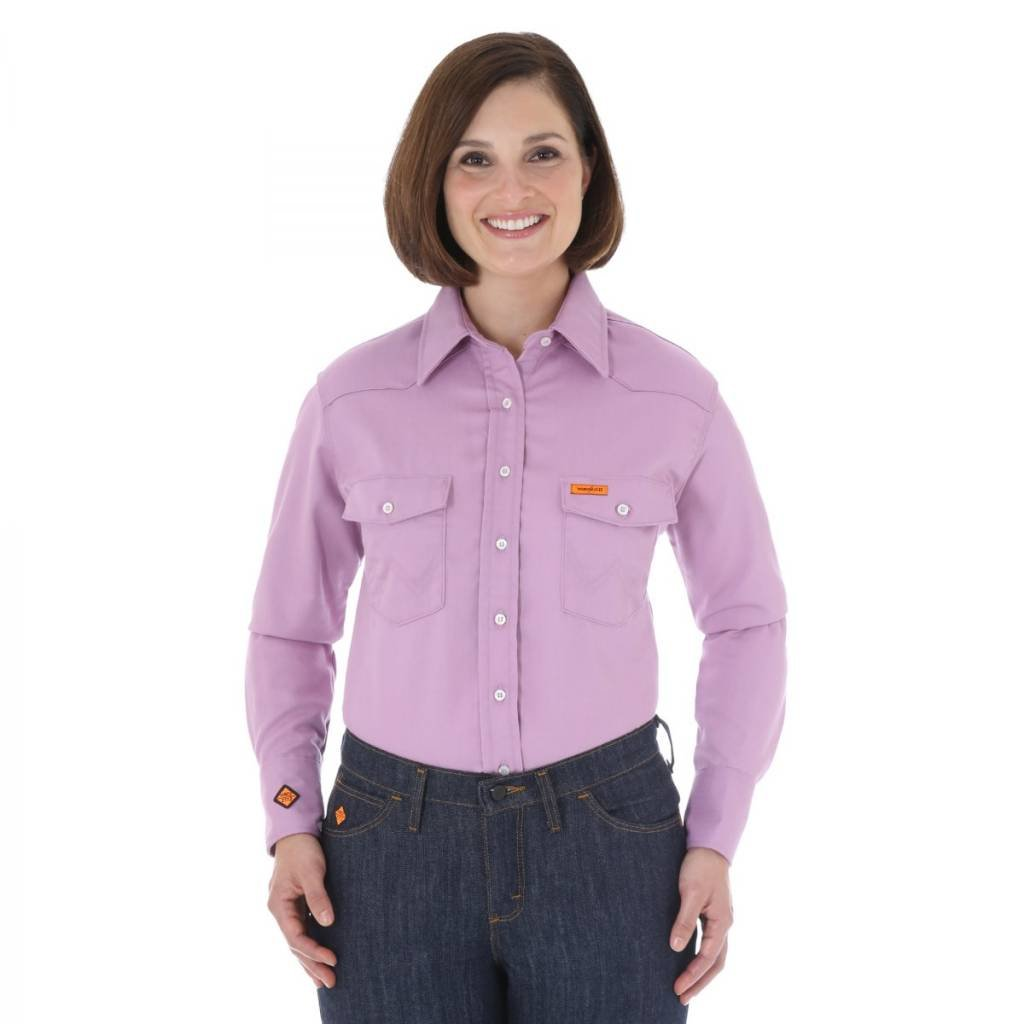 Womens Fr Purple Snap Button Work Shirt Sams Safety Equipment