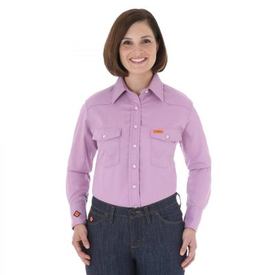 Wrangler FR Women's FR Purple Snap Button Work Shirt