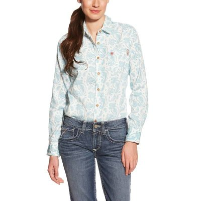 Ariat Women's FR White Paisley Crane Work Shirt
