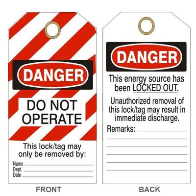 Lock out Tags - Do Not Operate - Card stock