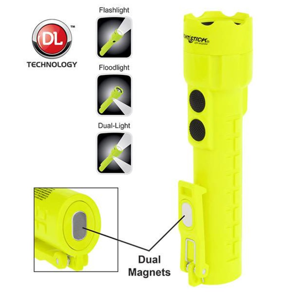 Nightstick LED Intrinsically Safe Permissible Dual Light Flashlight w/ Dual Magnet