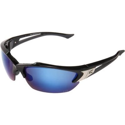 Edge Eyewear Khor Black Frame Polarized Blue Mirror Safety Glasses