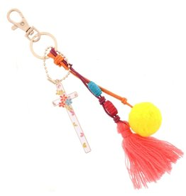 Cross with Tassel Keychain