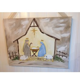 Paint n Pour--Nativity Canvas