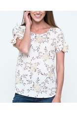 Downeast Floral Elated Tie Blouse