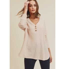 Relish Waffle Knit Button Henley