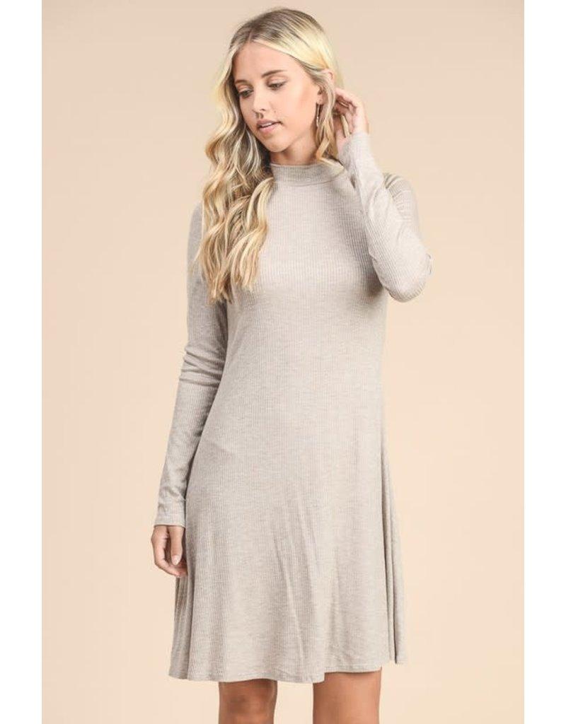 Relish Mock Neck Swing Dress