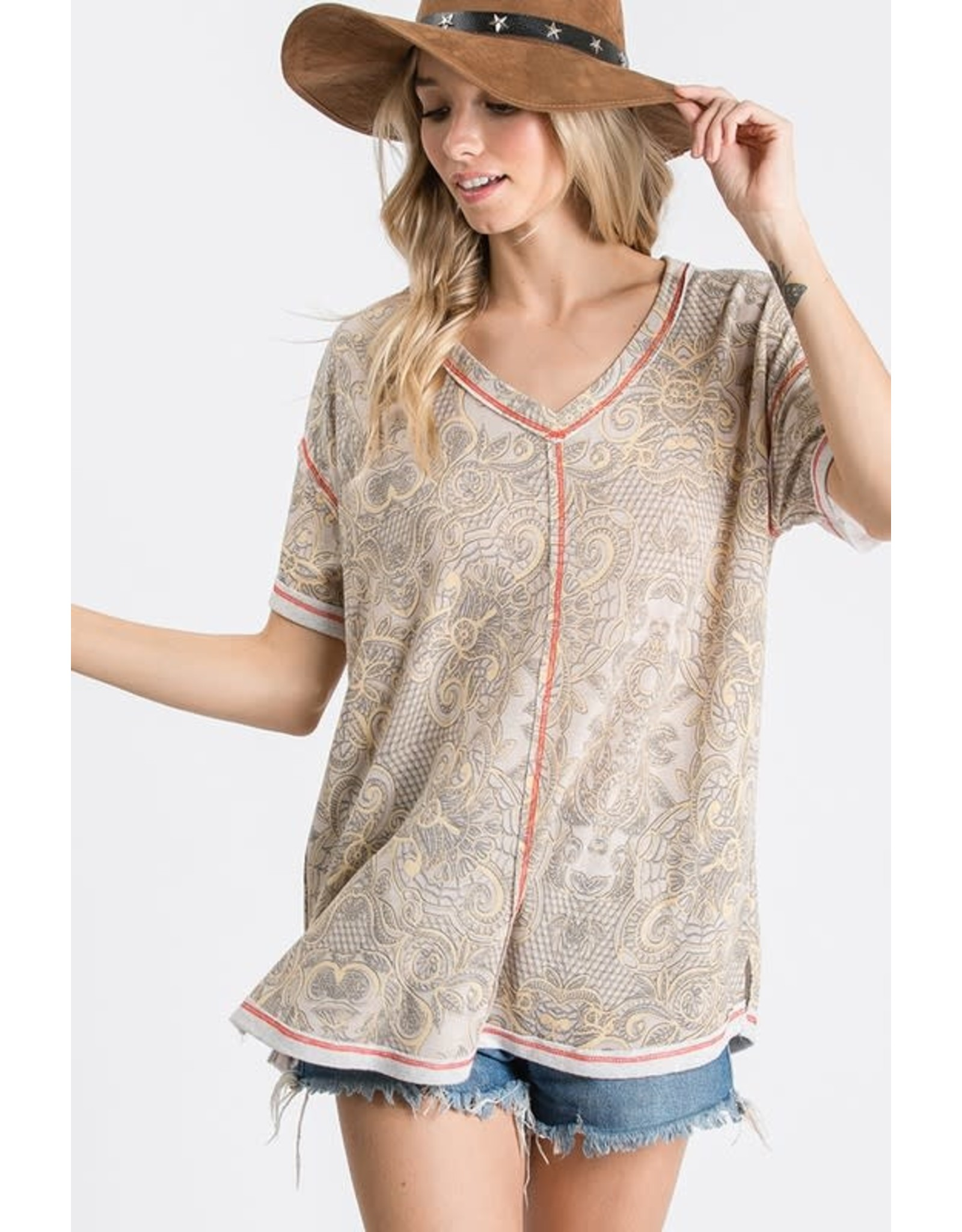 Relish S/S V Neck Top