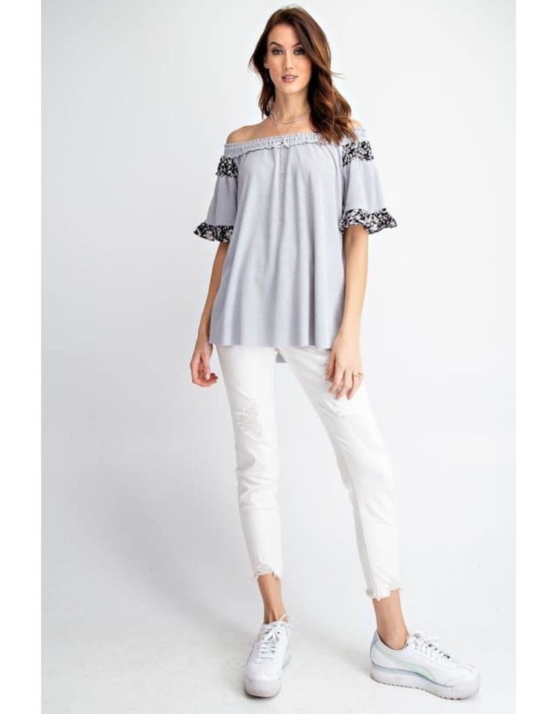 Relish Functional Off Shoulder Rib Knit Flyaway Tunic